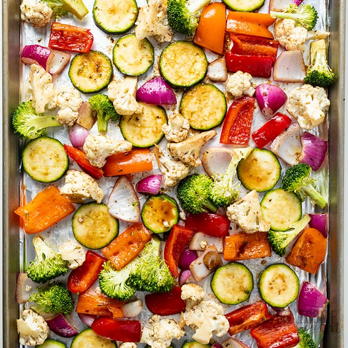 balsamic roasted vegetables on a sheet pan