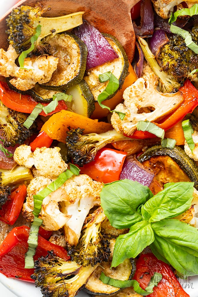 keto roasted vegetables with basil