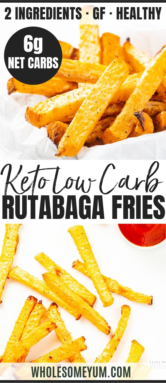 Low Carb Keto French Fries Recipe (Rutabaga Fries) - Pinterest Image