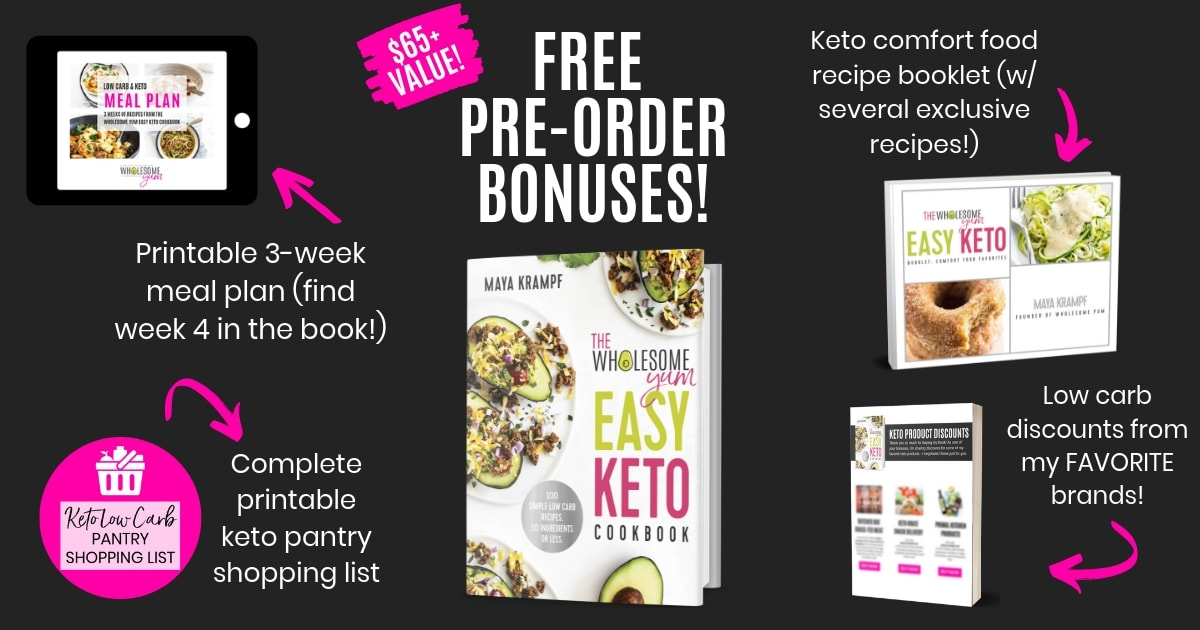 The Wholesome Yum Easy Keto Cookbook - preorder bonuses