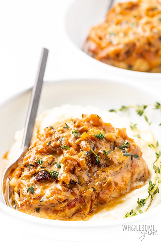 Baked Smothered Pork Chops Recipe With Onion Gravy Wholesome Yum