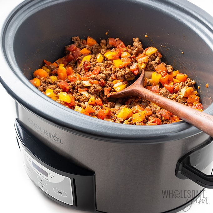cooked ground beef taco casserole in slow cooker