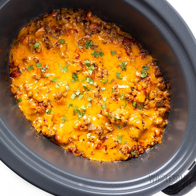 melted cheese on top of slow cooker taco casserole