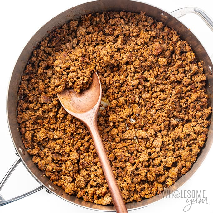 ground beef browning for low carb taco casserole