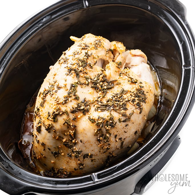 turkey breast recipe cooking in a slow cooker