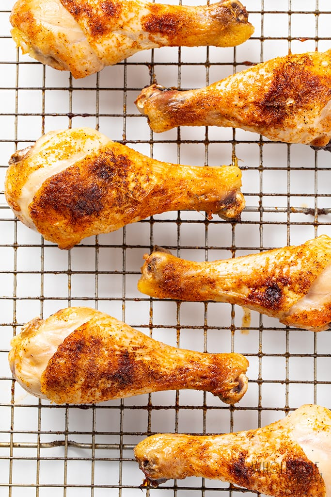 cooking chicken legs on cooling rack