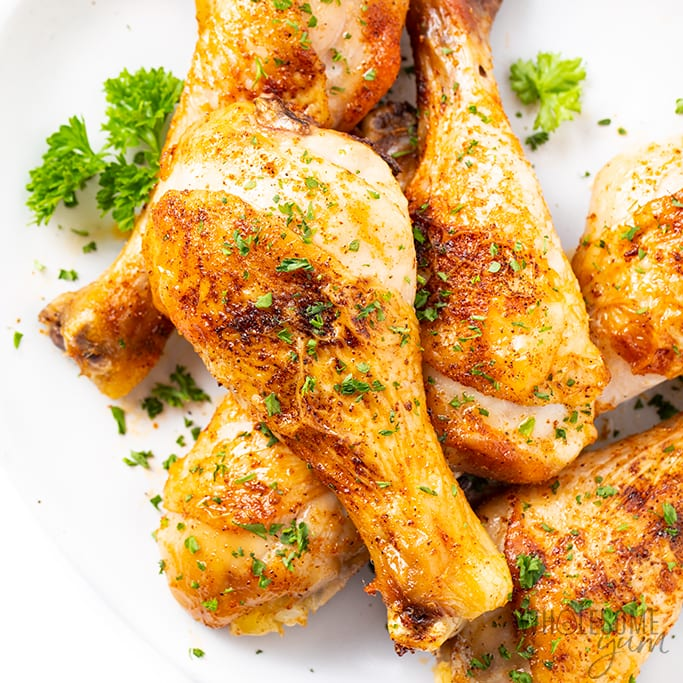 Super Crispy Baked Chicken Legs Drumsticks Recipe Wholesome Yum