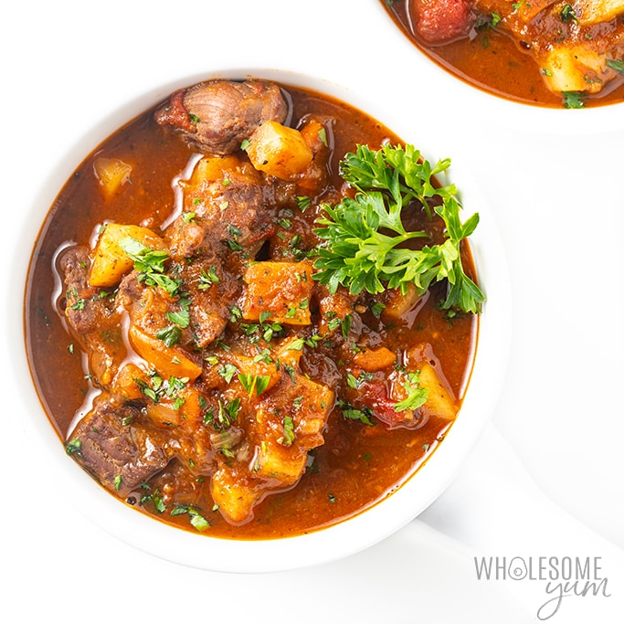 keto beef stew in white bowl