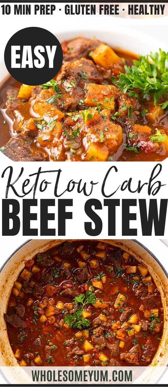 Easy Low Carb Keto Beef Stew Recipe - Pinterest Image
