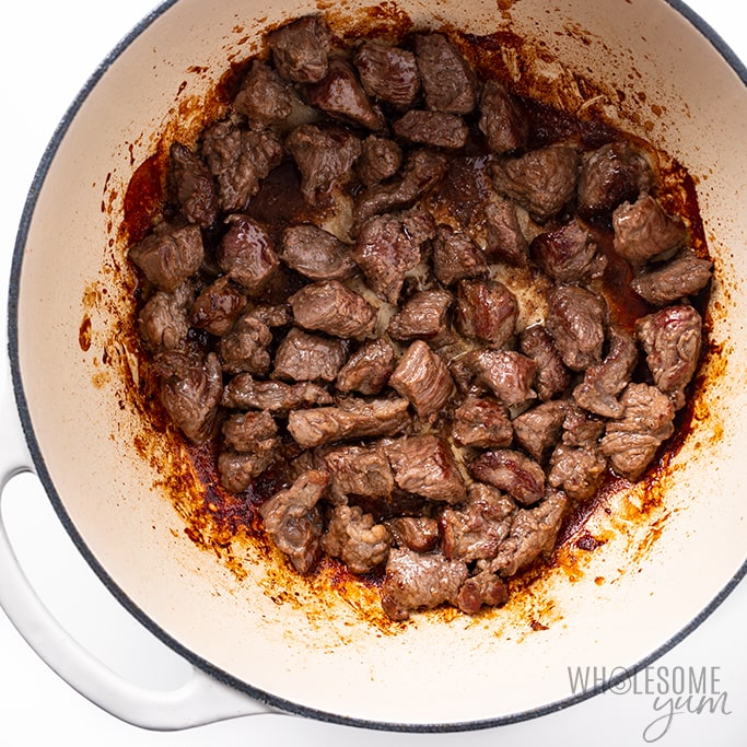 browning meat for low carb beef stew