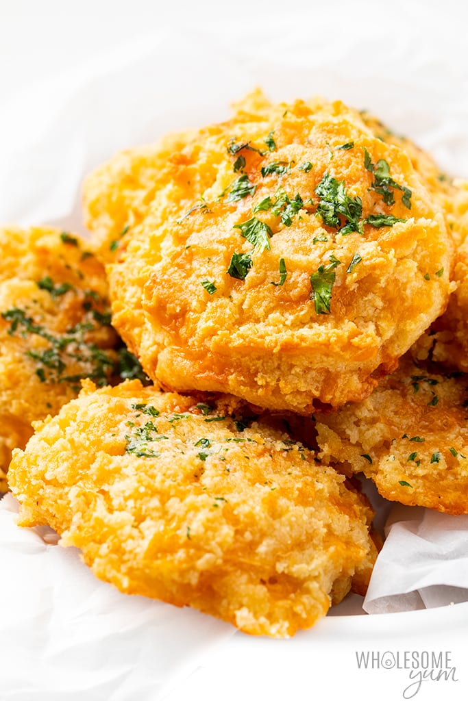 keto cheese biscuits in a basket