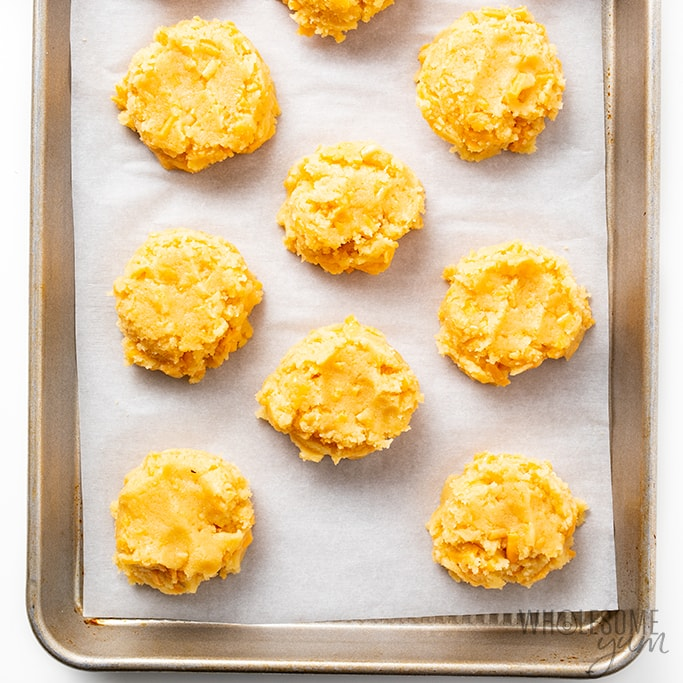 low carb cheddar biscuits on baking sheet