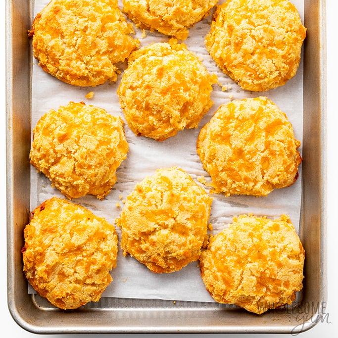 baked keto cheddar biscuits