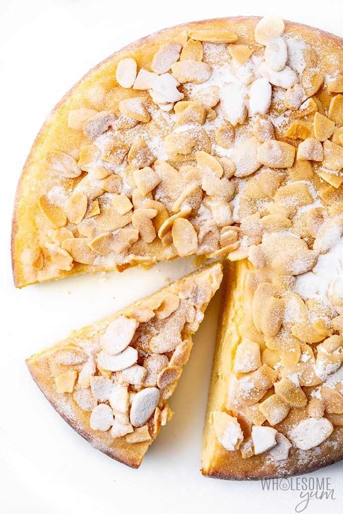 French almond cake with slice cut out