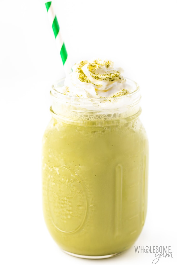 matcha frappe with straw