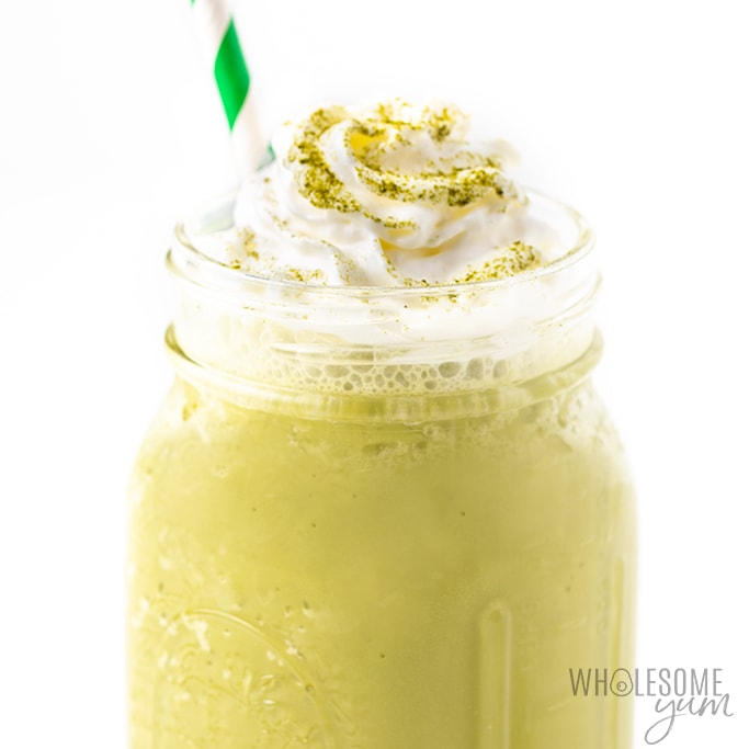 matcha green tea frappe with whipped cream