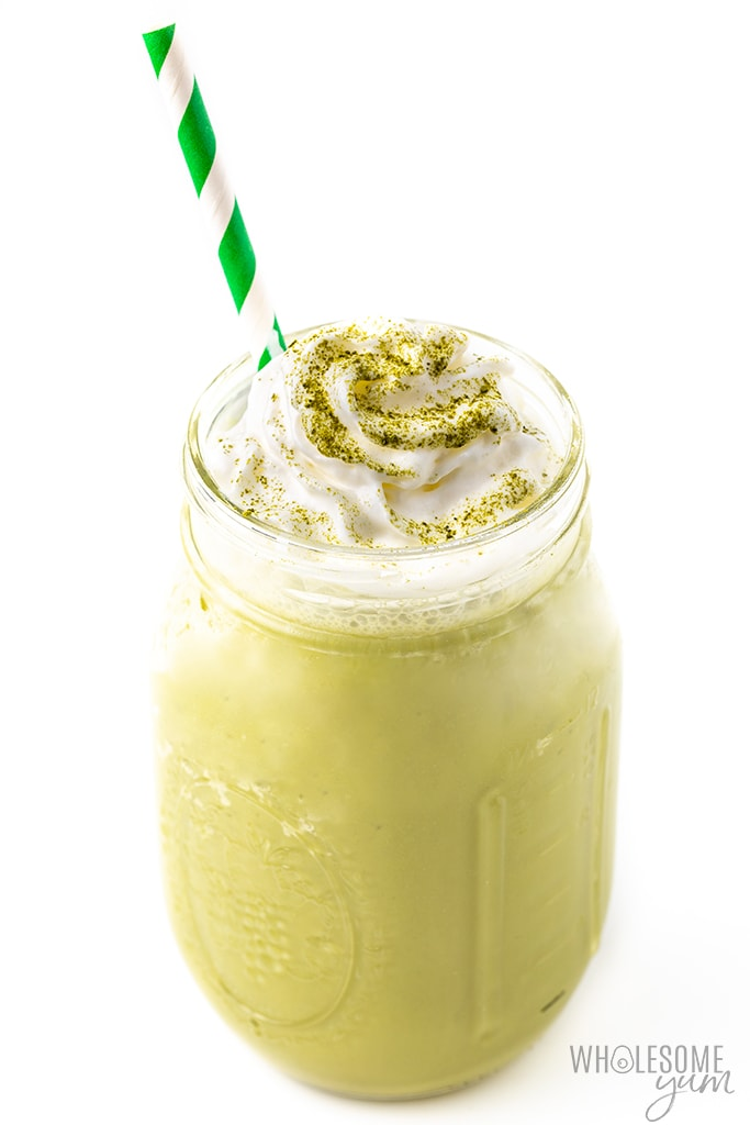 keto frappe in glass jar with whipped cream