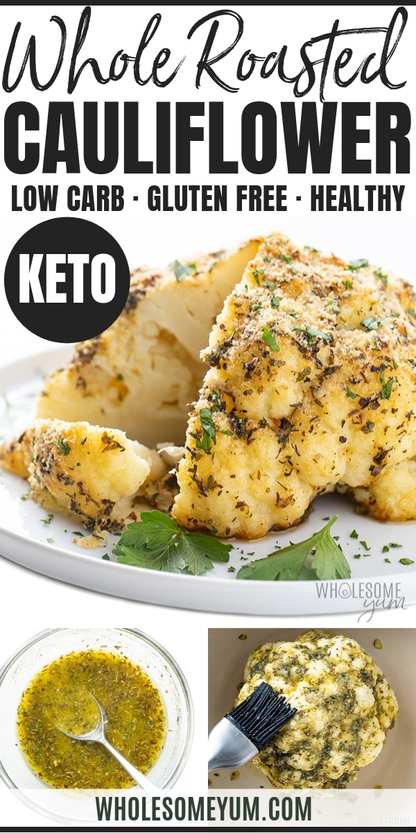 Learn how to roast a whole cauliflower head, with just 10 minutes prep and 5g net carbs! This whole roasted cauliflower recipe with parmesan and garlic looks good on any table. Whole baked cauliflower can be a vegetarian main dish or a healthy low carb side dish.