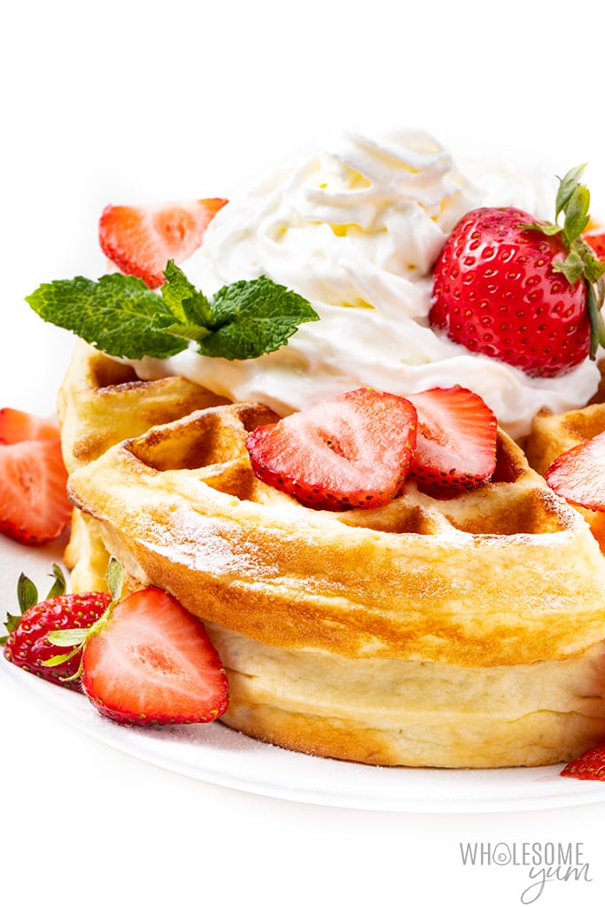 coconut flour waffle recipe with strawberries and whipped cream