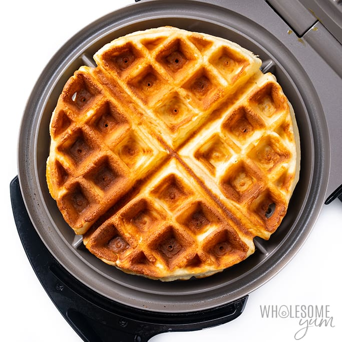 keto waffles with coconut flour in waffle iron