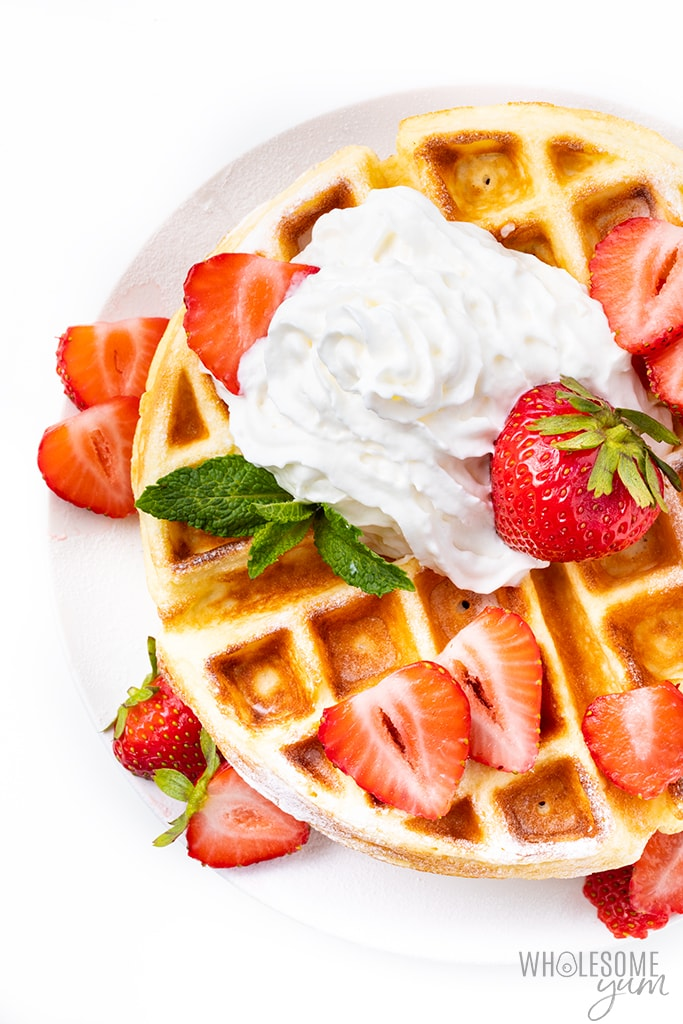coconut flour waffles with strawberries