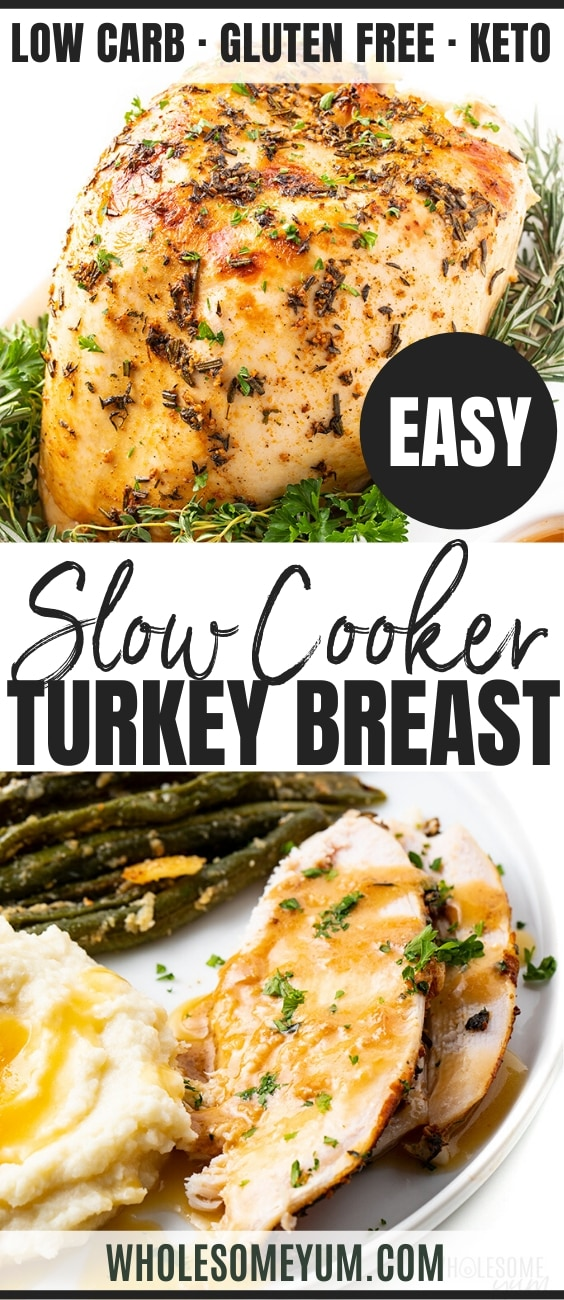 Crock Pot Slow Cooker Turkey Breast Recipe - Pinterest Image