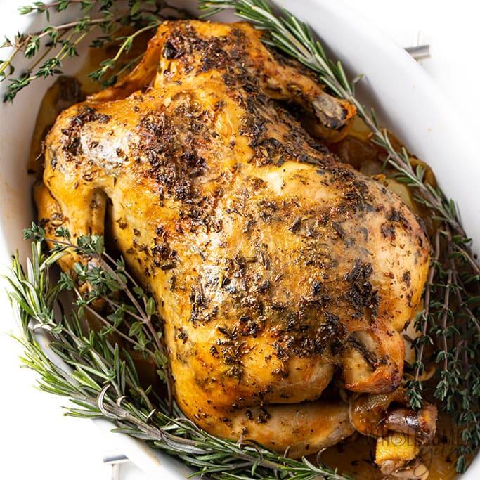 Chicken Garlic With Fresh Herbs Recipe: Crock-Pot Whole Chicken Recipe With Garlic Herb Butter