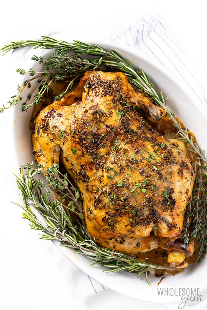 Crock-Pot whole chicken on herbs