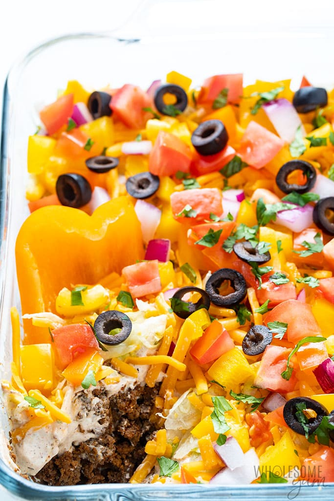 layered taco dip with pepper