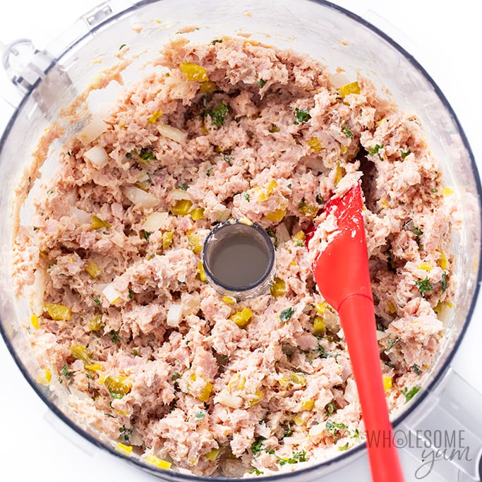 deviled ham salad in food processor bowl