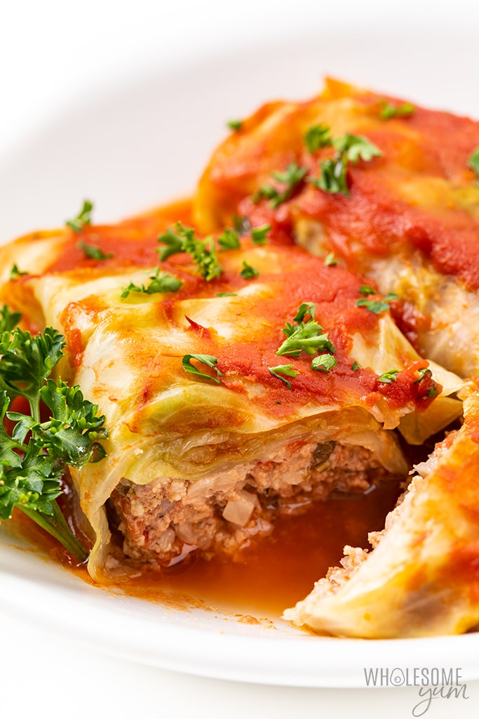 cabbage rolls sliced open