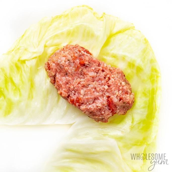 keto stuffed cabbage rolls before rolling