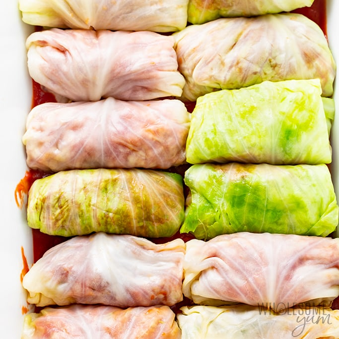cabbage rolls without rice ready for baking