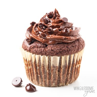 keto chocolate cupcake with frosting
