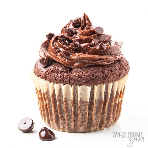 Low Carb Keto Chocolate Cupcakes Recipe Almond Flour Wholesome Yum
