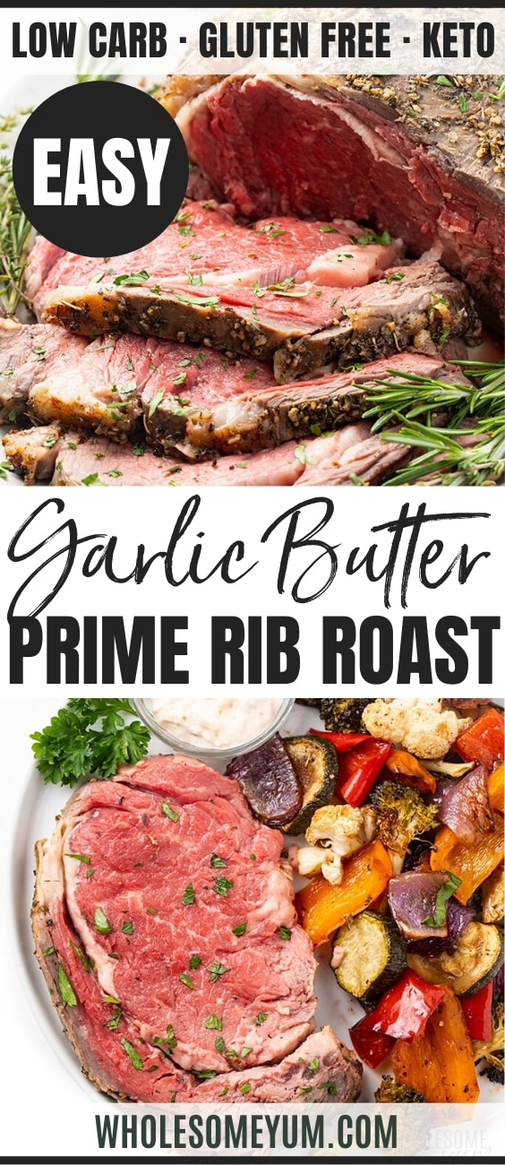 Perfect Garlic Butter Prime Rib Roast Recipe - Pinterest Image