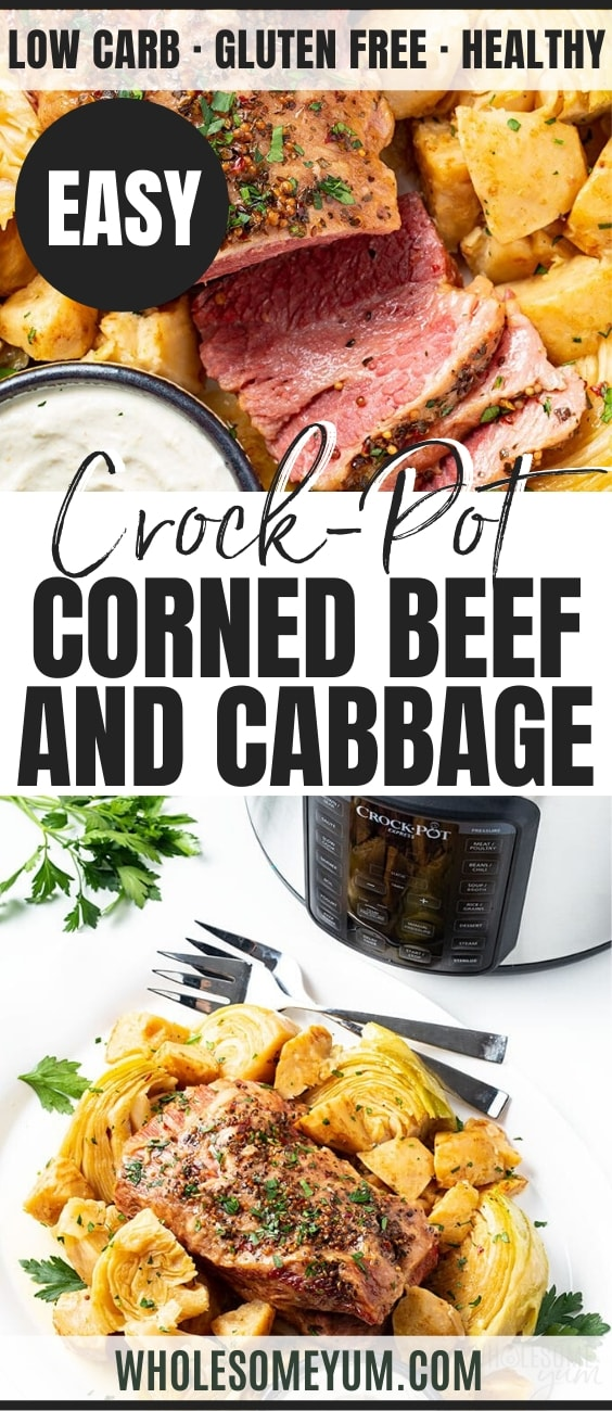Pressure Cooker Keto Corned Beef and Cabbage Recipe - Pinterest Image