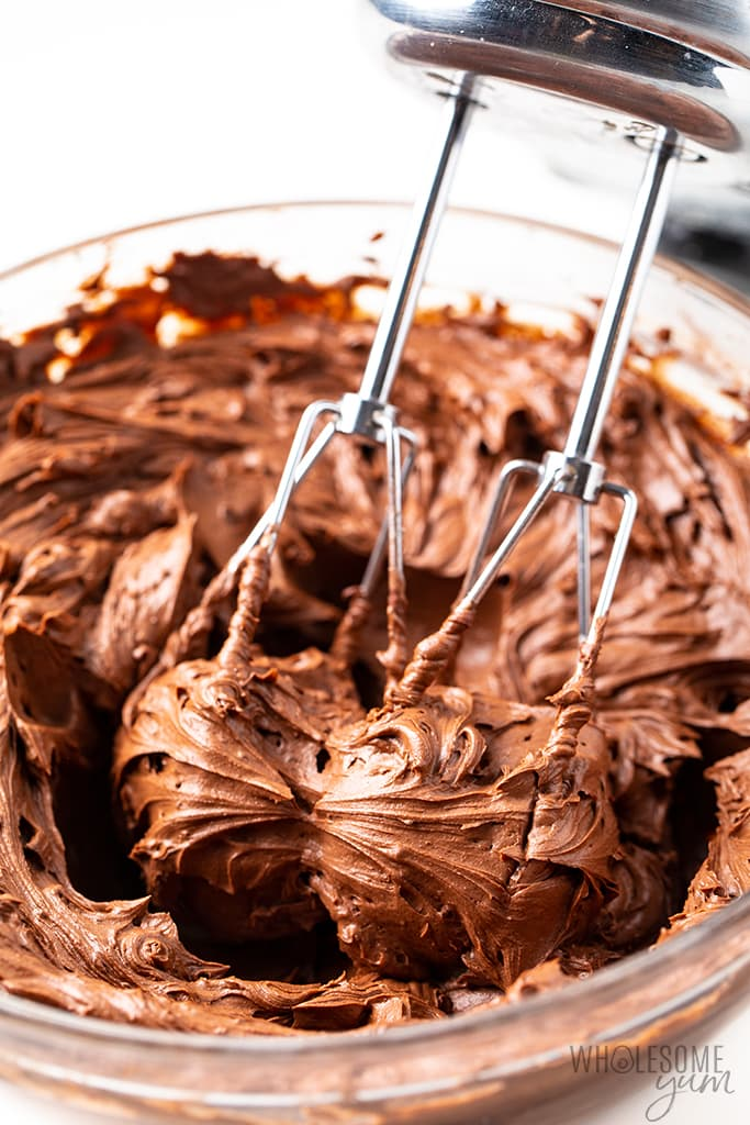 sugar-free chocolate frosting in a bowl with beaters