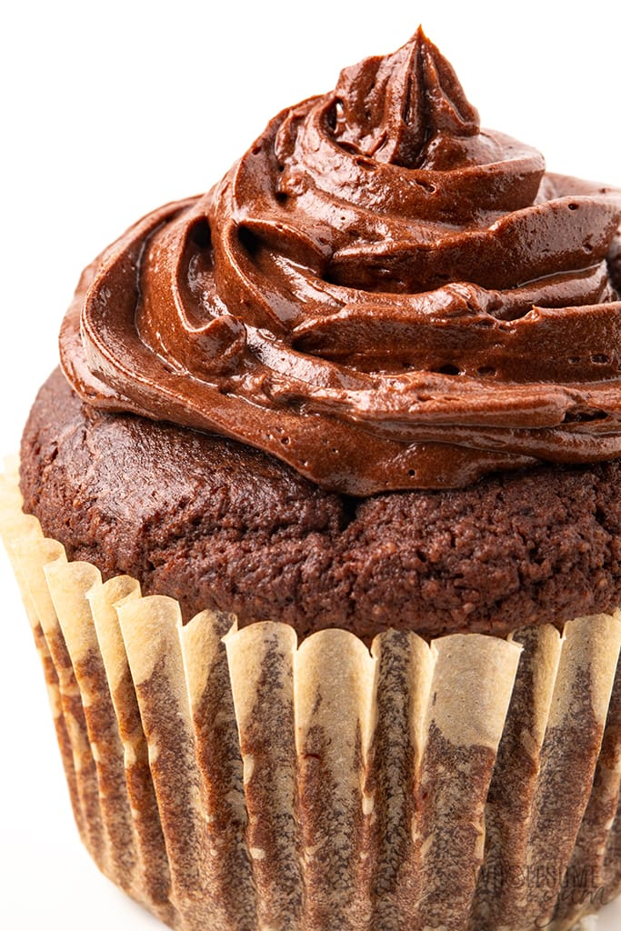 chocolate sugar-free frosting on a cupcake