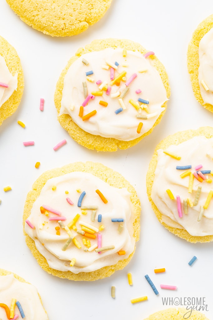 Coconut Flour Sugar Cookies scattered on white surface