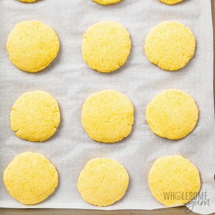 Coconut flour sugar cookies after baking
