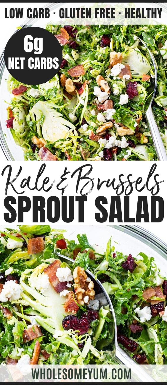 kale and brussels sprouts salad with bacon - pinterest