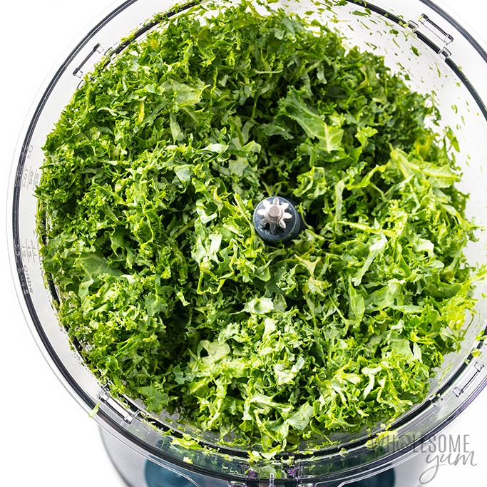 shredded kale in food processor