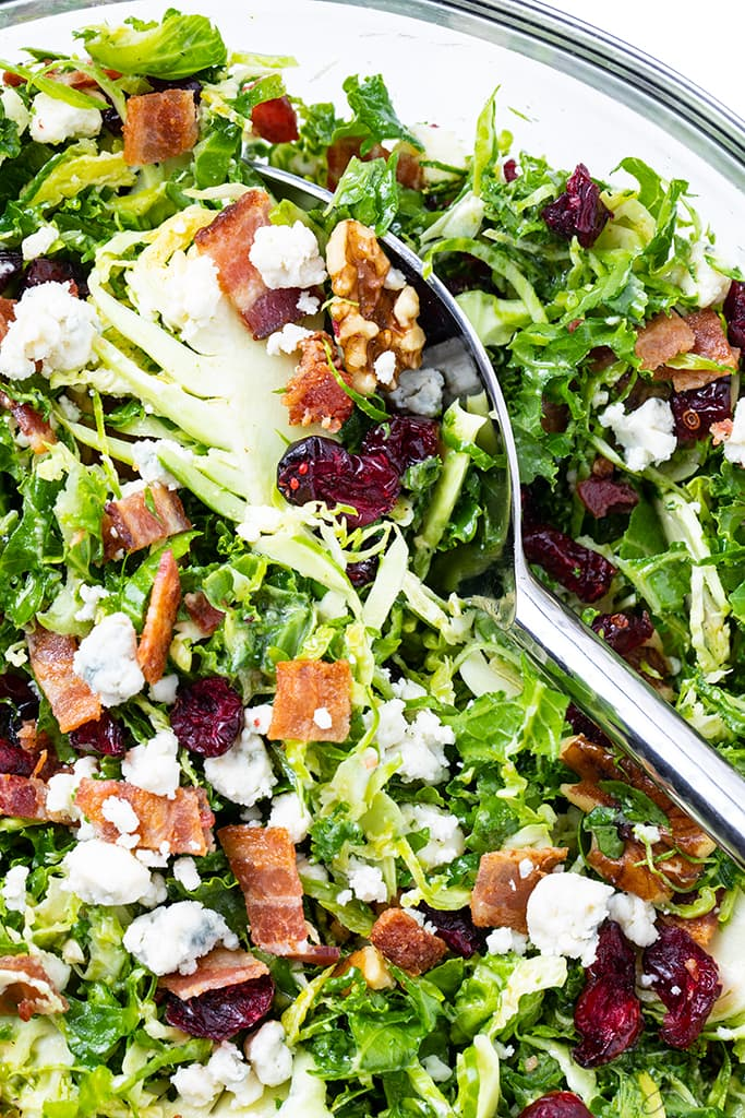 brussels sprout salad with bacon close up