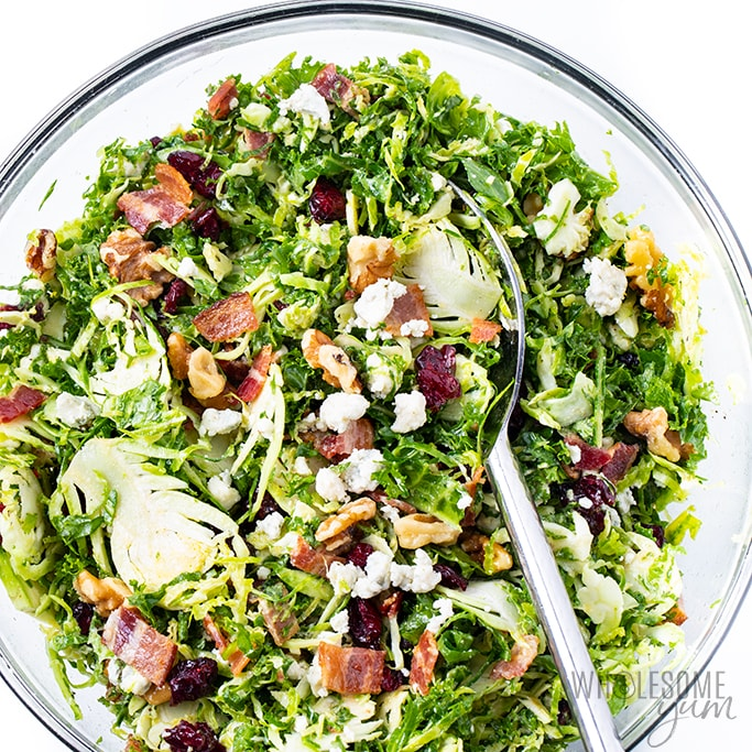 kale brussels sprouts salad recipe in a bowl