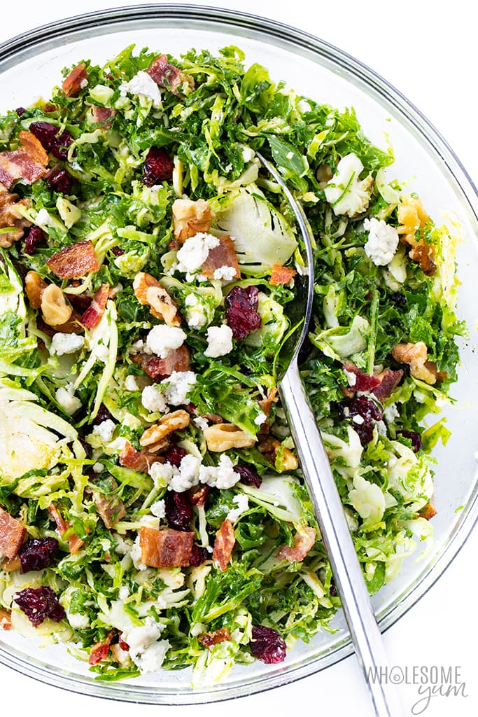 brussels sprouts salad with cranberries in bowl
