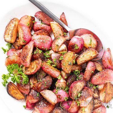 plate of sauteed radishes