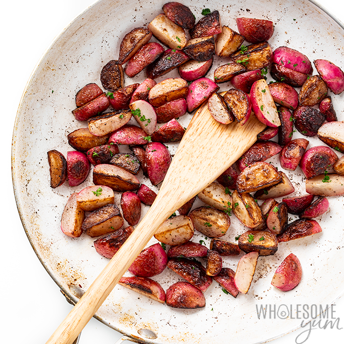 pan of fried radishes