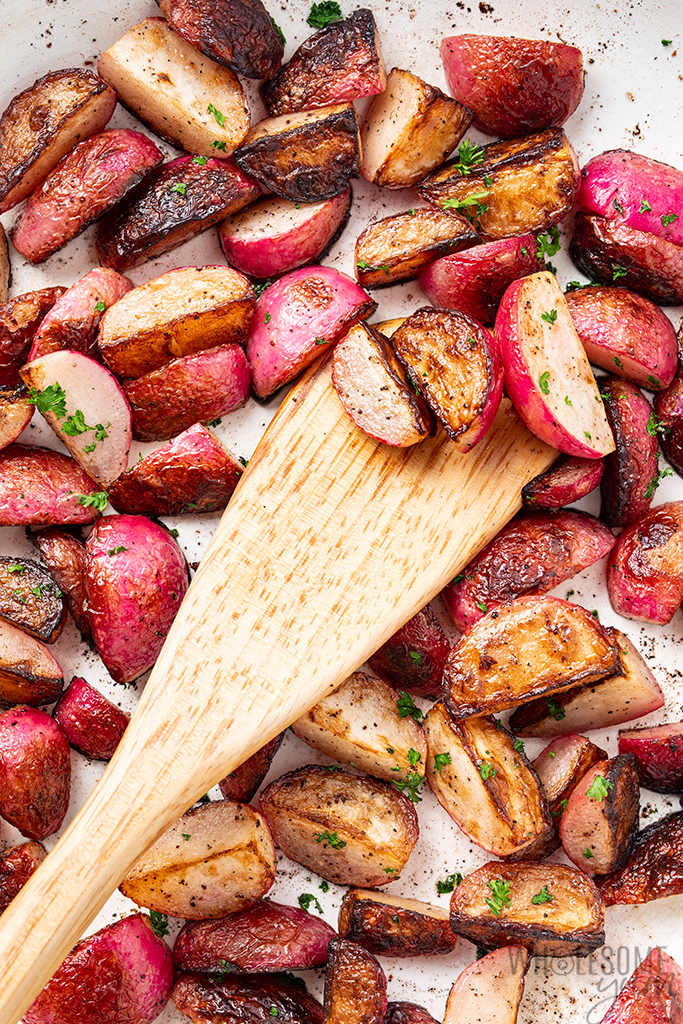 keto radishes in a pan