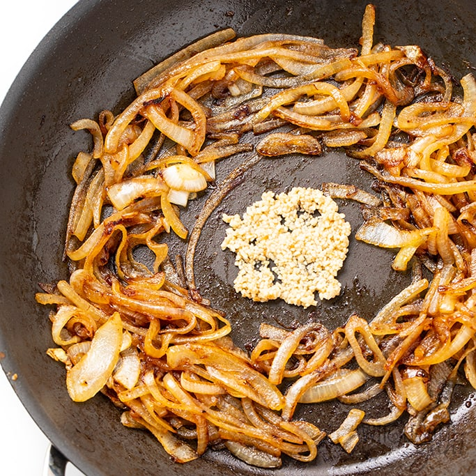 onions and garlic for fried cabbage recipe